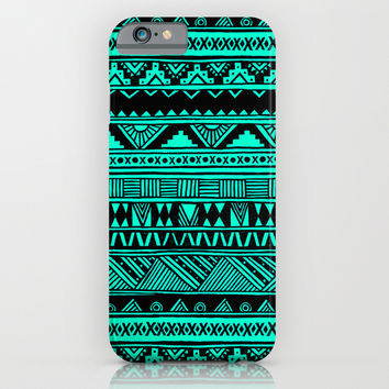 Black Mint Turquoise Cute Girly Urban Tribal Aztec Andes Abstract Geometric Pattern iPhone & iPod Case by Hyakume