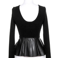Pleather Peplum Top