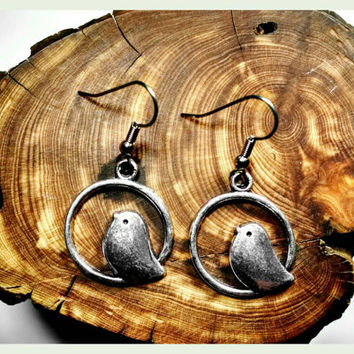 Handmade Songbird Earrings Surgical Steel Hooks In Antique Silver Holiday Gift Bird  Handcrafted Sparrow Hypoallergenic Jewelry