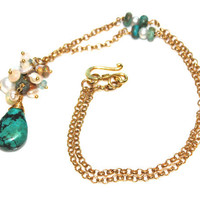 Wire Wrapped Turquoise Teardrop Necklace Shimmering Ethiopian Opal Pearl Apatite Gold Vermeil Jewelry