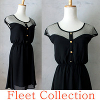 PETIT DEJEUNER in Black - Black Lace Illusion Neckline Vintage Inspired Black Chiffon Dress with Gold Buttons