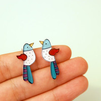 Bird stud earrings, Birds jewelry, Illustrated earring studs