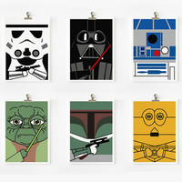 Star wars art print 5 x 7 set of 6 by loopzart on Etsy