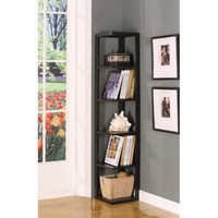 King&#x27;s Brand BK08 Wood Wall Corner 5-Tier Bookshelf Case, Espresso Finish