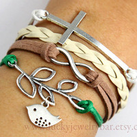 Cross bracelet, Infinity bracelet, branch and bird bracelet, braid leather bracelet, nature life