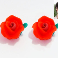 Special Offer - NEW Handmade Pretty & Cute Red Hot Rosebud with Leaf Stud Earrings