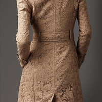 Long Corded Lace Trench Coat