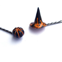Halloween orange hair pins Witch hat