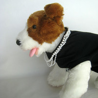 Halloween Dog Costume Little Black Dress Pearl Necklace Audrey
