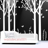 white Tree Wall Decal birch tree decal Wall Decor wall Sticker Room decor kids decal  decor Art wall art - set of 6 100in birch trees