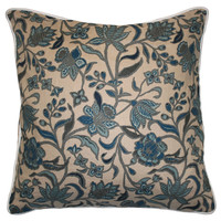 Barclay Butera, Floral 22x22 Linen Pillow, Teal, Decorative Pillows