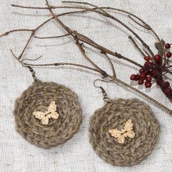Crochet earrings-Linen round Hippie fiber Jute-Butterfly-Circle-Boho-bohemian-shabby chic-Unique-Rustic-crochet accessories-textile jewelry