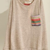 Print Pocket Long Sleeve Knit Top