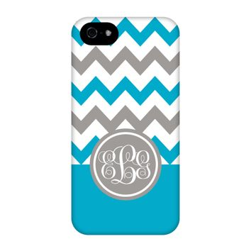 Turquoise-Grey Chevron Monogram Phone Case