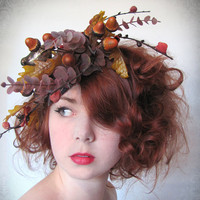 Autumn Birds Nest Fascinator with Metal Bird by unusualfascinators