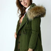 Detachable Fur Hood Military Parka Coat  - New Arrivals - Retro, Indie and Unique Fashion