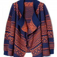 Aztec Zig Zag Intarsia Knit Orange Navy Cape - Outers - Retro, Indie and Unique Fashion