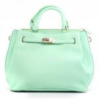 Mint Front Lock Shoulder Bag by Chic+ - Bags - Goods - Retro, Indie and Unique Fashion