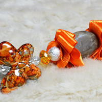 Fashion hand-decorated safety pin to adorn Hats and Jackets, close Cardigan and Scarves - Color Orange and Gray (SPL17)