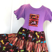 Colorful Carousel Horse Lover's Little Girl's Dress Toddler 2T 3T 4T Girls size 5 6 7 8 Purple Twirl Dress Children's Clothes
