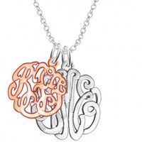 Personalized Couples Monograms Sterling Silver w/ Rose Gold Overlay