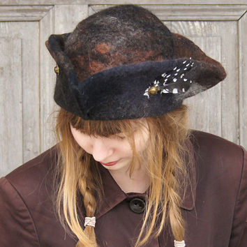 Unique felted hat, tricorn, pirate hat, with woodpecker feathers. OOAK