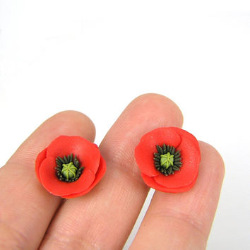 Polymer clay poppies - polymer clay jewelry - stud earrings - floral jewelry - floral earrings