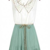 Imperial Soire Vintage Collar Accordion Dress in Mint Tea | Sincerely Sweet Boutique