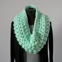 Chunky Infinity Scarf Cowl Neck Warmer Mint Sea Foam by deroucheau