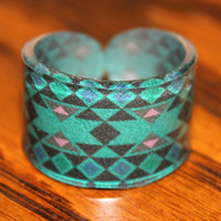 Size 9 Forest Green Tribal Pattern Ring Size by kaykreationsphoto