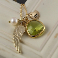 Gold Angel Wing Necklace, Handstamped Initial, August Birthstone, Birthday Gift, Peridot Necklace, Green Bridesmaids Gift