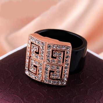 New Style 18K Rose Gold Plated Ring Jewelry USA Storage Austrian Crystals