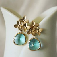 Aquamarine Cherry Blossom Earrings, New Year, 2012 Trends, Winter Fashion, Blue, January, Birthday Gift, Wedding Jewelry, Bridesmaids Gift