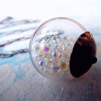 Super Duper Wonder Globe Pendant full of Pure Sparkly Goodness. Sterling Silver Artisan  Modern Jewelry