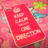 Hot Pink Keep Calm and Love One Direction iPhone 4G/4S Case 1D