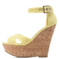 Crochet Platform Wedge Sandals by Charlotte Russe - Pale Yellow