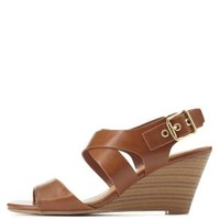 City Classified Slingback Low Wedge Sandals by Charlotte Russe - Tan