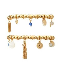 Beaded Stretch Charm Bracelets - 2 Pack by Charlotte Russe - Gold