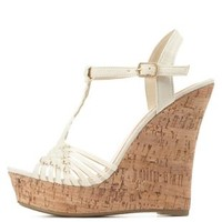 Basket-Woven T-Strap Wedge Sandals by Charlotte Russe - Beige