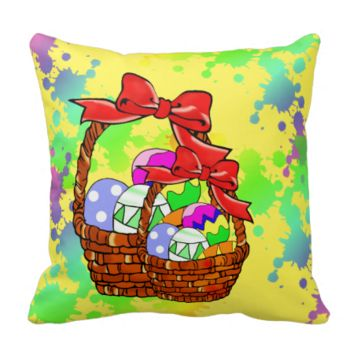 Colorful Easter eggs in baskets Pillows