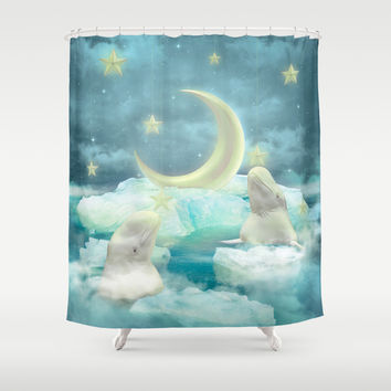 Guard Your Heart. Protect Your Dreams. (Beluga Dreams) Shower Curtain by Soaring Anchor Designs