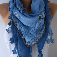 Blue Ombre Scarf Spring Mom Oversize Scarf Shawl Scarf Cowl Scarf Gift Ideas for Her Women Fashion Accessories  Scarves Mother's Day Gift