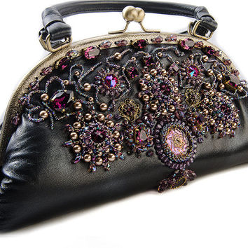 Evening embroidered handbag Black, amethyst, swarovski crystals, handmade bags clasp purse Gift for her Black clasp bag