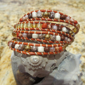 Earthy Leather four Wrap Bracelet with Genuine Shell Button