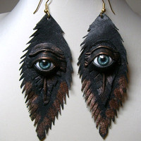 Evil eye black antiqued leather earrings.  Feather earrings. Halloween earrings