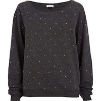 Dark grey stud sweat top