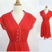 Vintage Red Dress  Polka Dot Dress Medium by Yesterdayand2day