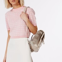 Missguided - Short Sleeve Gingham Crop Jumper Pale Pink