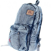 Retro Cotton Denim Wash Backpack