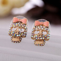 Cool betsey johnson Pink Bow Skeleton Skull Stud Earrings